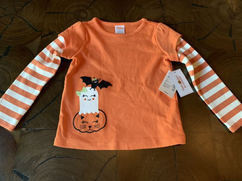 NWT Gymboree Girls Embroidered Halloween Layered Top Lil Pumpkin Size 2T $26.95