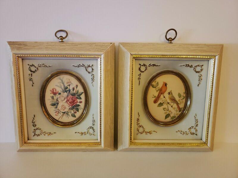 Vintage 1950s Turner Style Decorative Ornate Wall Art Framed Pair Floral Birds