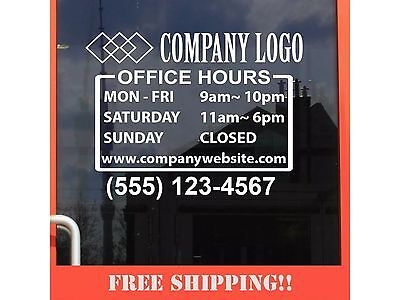 11wx8.5h Business Store Hours Sign Window Shop Open Close Sticker Decal