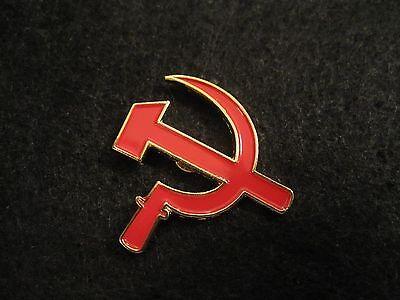 """RUSSIA """"HAMMER & SICKLE"""" Red Pin/Badge COMMUNIST SYMBOL , Soviet Union  C C C P"""