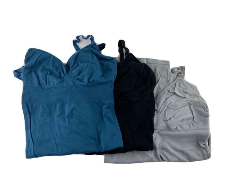 Lot Of 3 Medium To Large Nursing Mom Tank Tops Tight Fitted Black Grey Blue