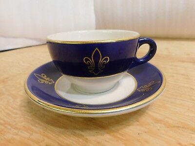 Syracuse China Blue Gold Fleur De Lis Hotel Restaraunt Cup Saucer ()
