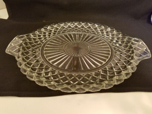 Antique Waterford Clear by Anchor Hocking Waffle Glass Cake Plate With Handles