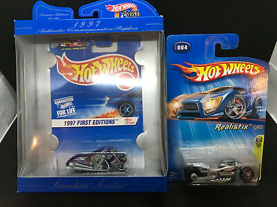 Hot Wheels Motorcycles 1st Editions Scorchin' Scooter and Airy 8 NIP