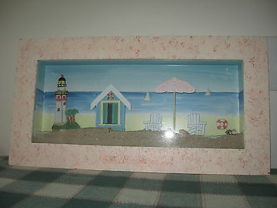 Framed Shadow Box w Lighthouse Beach Chairs Shifting Sand & Sea Shells 21