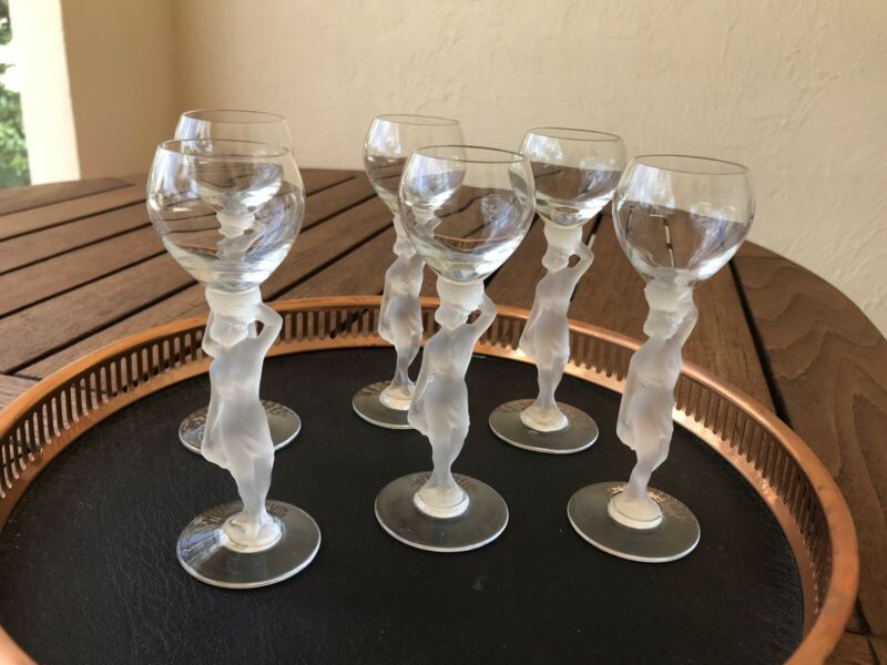 Set of 6 Vintage Art Deco Nude Frosted Glasses Mint