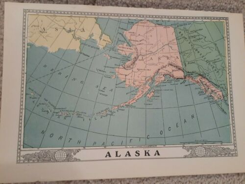 Antique State Maps 1904 Pac NW--Washington, Oregon, Idaho and Alaska VG