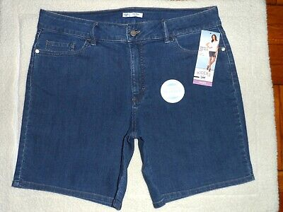 RIDERS BY LEE WOMENS 18M~~PERFECT FIT~SLENDER STRETCH MID-RISE DENIM SHORTS/BLUE Denim Womens Shorts