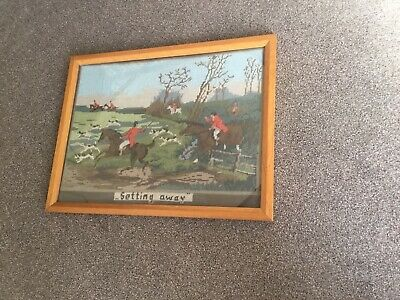 "Vintage Framed Tapestry Hunt Scene. ""Setting Away"""