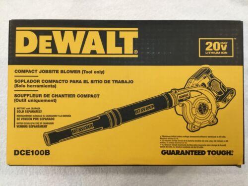 New Dewalt DCE100B 20 Volt Max Cordless Compact Blower (Bare Tool) 180 MPH (NIB)