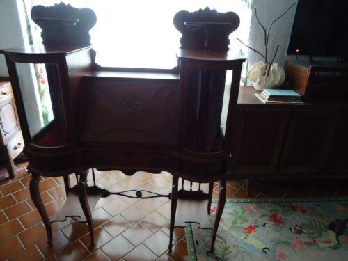 Antique Art Nouveau Turn of Century  Ladies Desk Curio Glass Sides Secretary