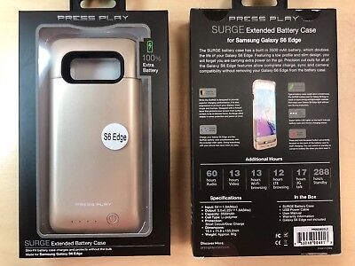Press Play Samsung Galaxy S6 Edge Extended Battery Case in Gold 3500 mAh 3500 Mah Extend Battery