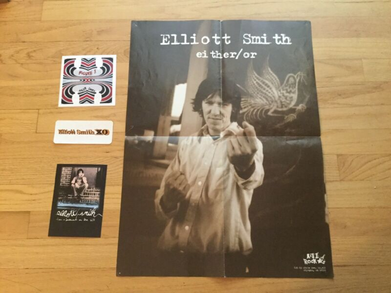 Elliott Smith Promo Items Lot From 4 Albums Poster, Postcard, Stickers 1997-2004