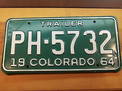 PH 5732 = NOS 1964 Colorado Trailer license plate     White letters on Green