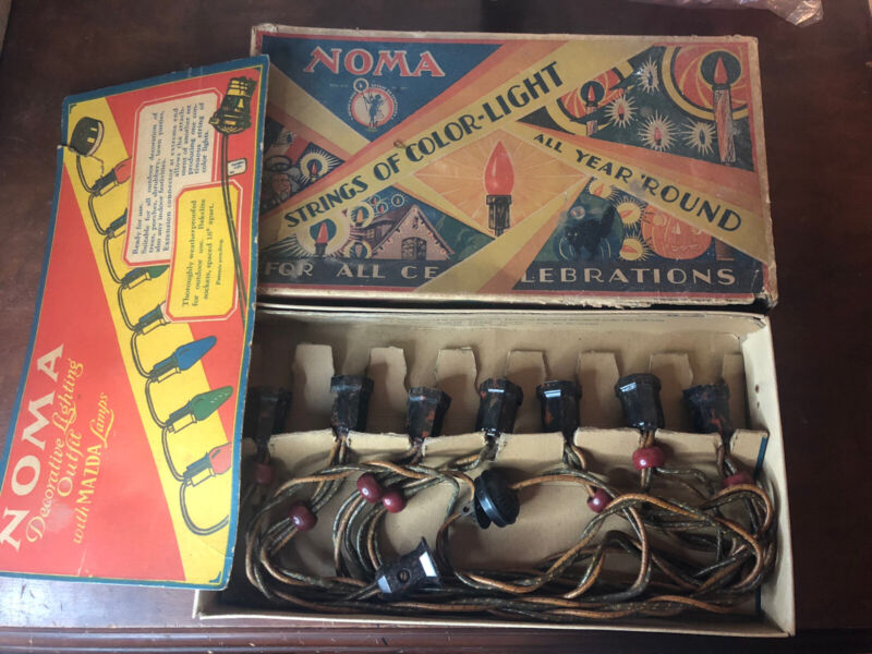 Antique 1920s Noma Christmas Lights Mazda Lamps / Bakelite W/Box New Old Stock