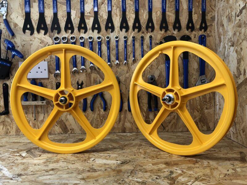 "Skyway Tuff 20"" BMX Mag Wheels,Yellow, Retro, Freestyle, Old School, Mid School."