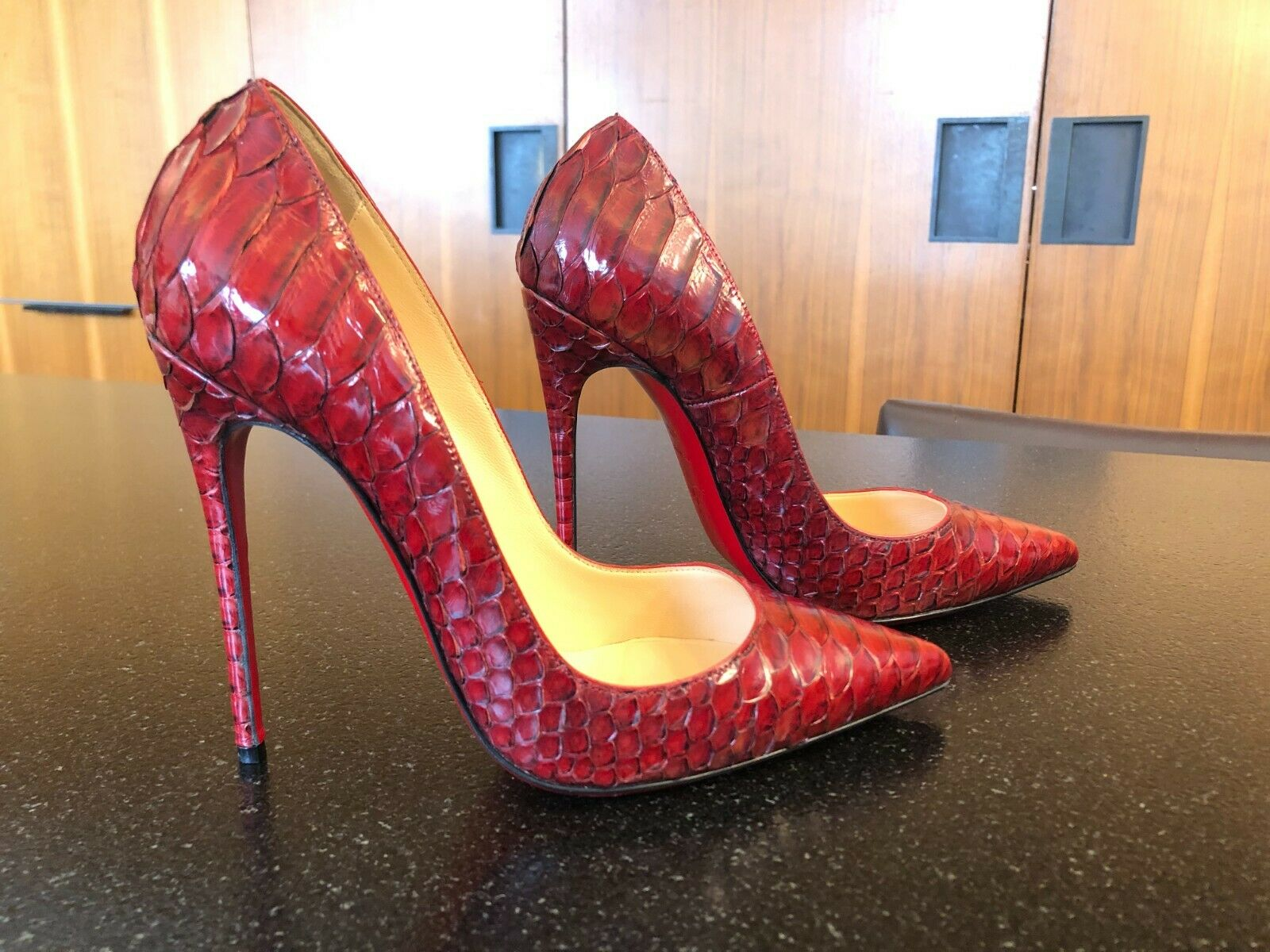 Christian Louboutin So Kate Red Snakeskin Pumps Size 37.5 fits like a 37