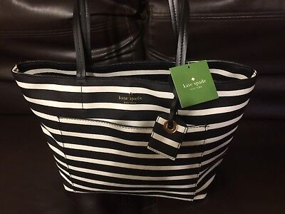 kate spade small riley Striped Black and White NWT