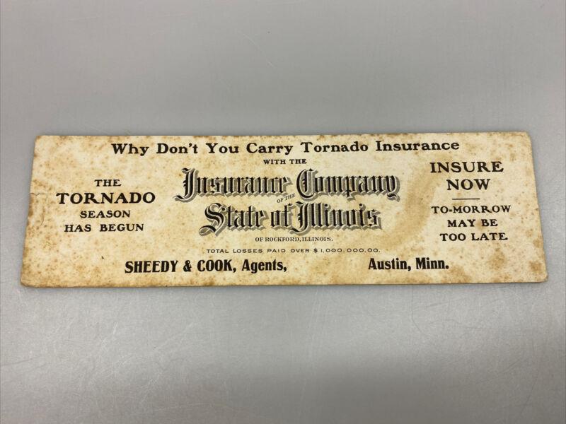 Antique Paper Sign Card Advertising Tornado Insurance Rockford IL Austin MN