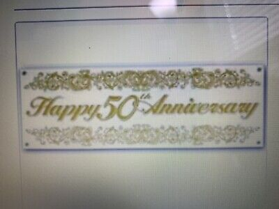 50th Anniversary Sign Banner Party White / Gold