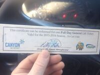 4 full day general lift tix/canyon