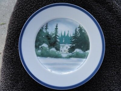 Williams Sonoma New England Scenes Blue Rim White House Trees White Salad (Blue Rim Salad Plate)