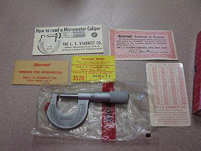 Starrett 230p Outside Micrometer Plain Thimble 0-1 Range 0.001 Graduation
