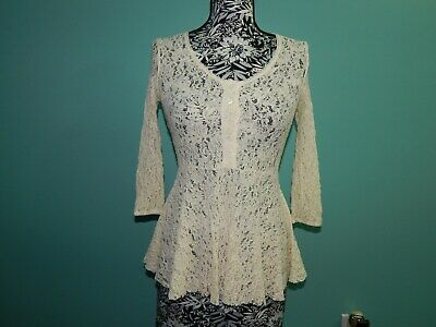 FREE PEOPLE Ivory Lace Sheer Peplum Baby Doll 3/4 Sleeve Top sz XS EUC ()
