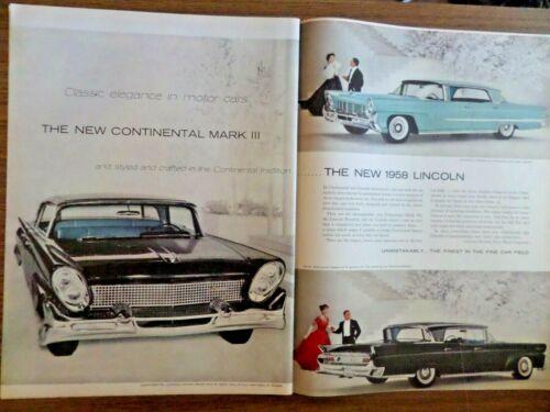 1958 Lincoln  Landau Premiere & Capri & Continental Mark III Ad