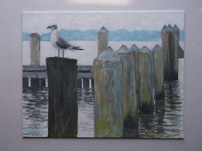 LARGE ORIG. PAINTING BAY LAKE RIVER DOCK SEA BIRD BOAT BEACH  MTO HOME DECOR