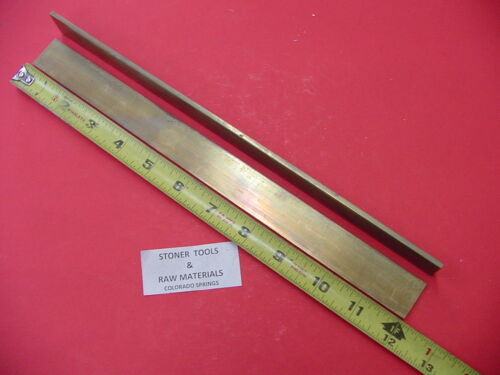 """2 Pieces 1/8""""x 3/4"""" C360 BRASS FLAT BAR 12"""" long Solid Plate Mill Stock H02 .125"""