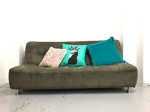 1 x brown suede sofa bed (click-clack) Redfern Inner Sydney Preview