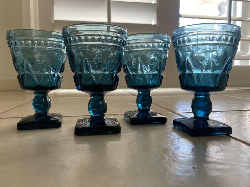 """Set of 4 Vintage Colony Park Lane Amber Blue Teal GLASSES Goblet Footed 4 1/2"""""""