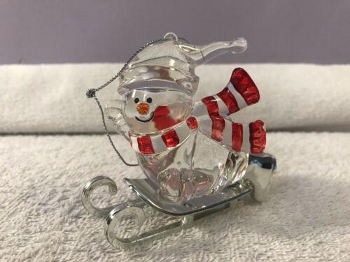 Christmas ornament acrylic snowman on sled EX4509