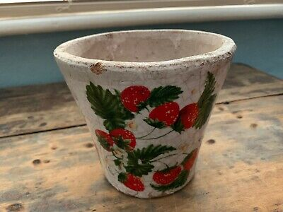 ANTIQUE Vintage French POTTERY HERB STRAWBERRY PLANT POT rustic 5.5