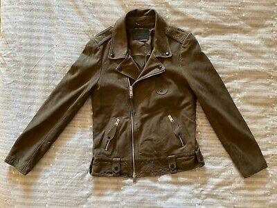 Men's Allsaints KALIX BIKER Dark Khaki Green Leather Jacket BRAND NEW w/ TAGS!!