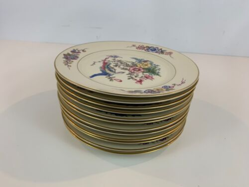 Vintage Rosenthal Ivory Phoenix Set of 12 Plates with Floral Decorations