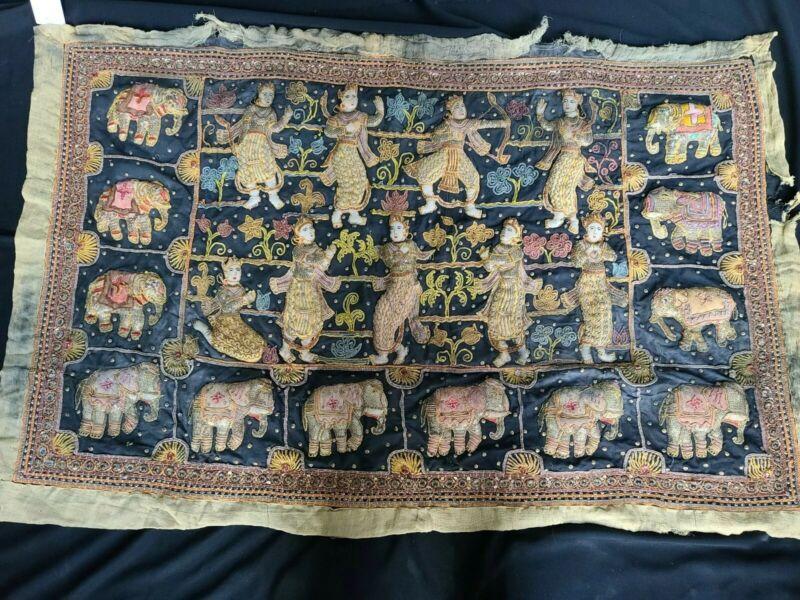 "Antique Hand Crafted Kalaga Burmese Needlepoint Tapestry Art Large 51""x33"""