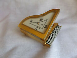 BULOVA Quartz Small Desk Clock Miniature Decorative RARE GRAND PIANO New battery