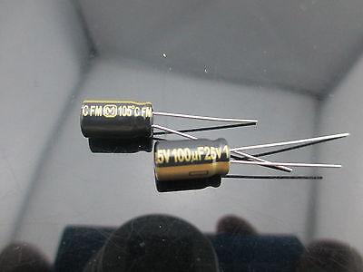 5pcs Japan Panasonic Fm 100uf 25v 100mfd Impedance Electrolytic Capacitors