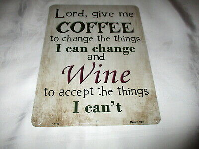 **COFFEE & WINE Metal Sign #1c - NEW**