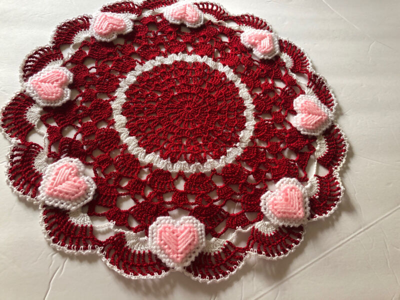 Brand New Hand Crocheted Valentine And Hearts Centerpiece Doily