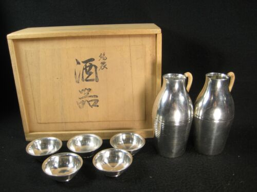 VINTAGE JAPANESE SET OF 7 SIGNED SILVER/PEWTER SAKAZUKI & TOKKURI SAKE SET