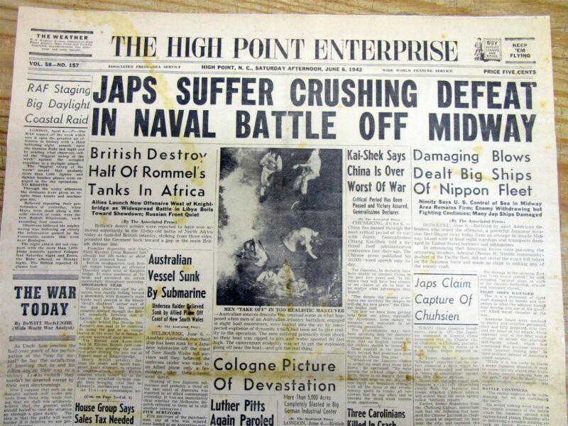 <1942 WW II newspaper US NAVY Chester Nimitz DEFEATS JAPAN @ BATTLE OF MIDWAY
