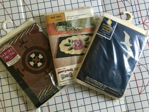 Aunt Lydia Rug Making Canvas Punch Needle Hooking Lot of 3