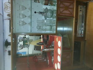 retro bar fake fire place/stereo/turntable/bar utensills incl