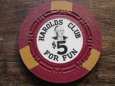 Harolds Uncirculated $5 Casino Chip Reno NV