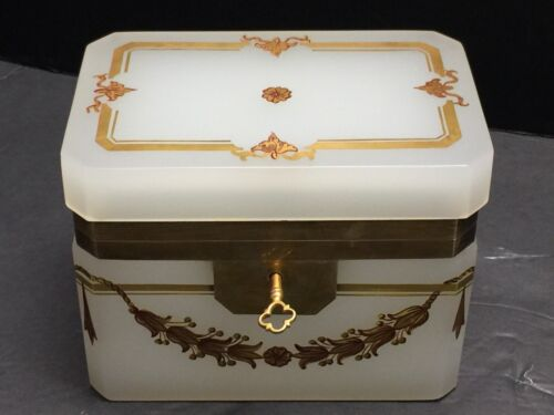LARGE ANTIQUE FRENCH OPALINE JEWEL CASKET/ BOX WITH KEY & RAISED GOLD DECORATION