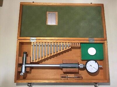 Mitutoyo 4-6.5 Inch Bore Gage Anvil Set 511-187 .0001 Dial Indicator Wood Case