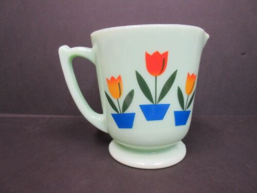 JADITE JADEITE TULIPS 4 CUPS MEASURING CUPS NEW REPRODUCTION VGC COLLECTIBLE